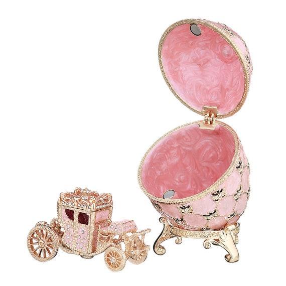 Quality Purple Metal Faberge Russian Egg Vintage Easter Trinket Jewellery Box