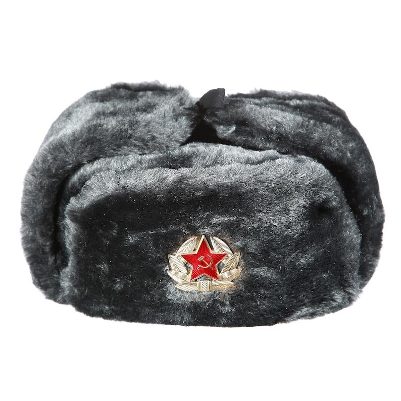e34aa182f Russian / USSR Army Winter Gray Fur Ushanka Hat + Soviet Red Star Badge  Sizes S,M,L,XL,XXL