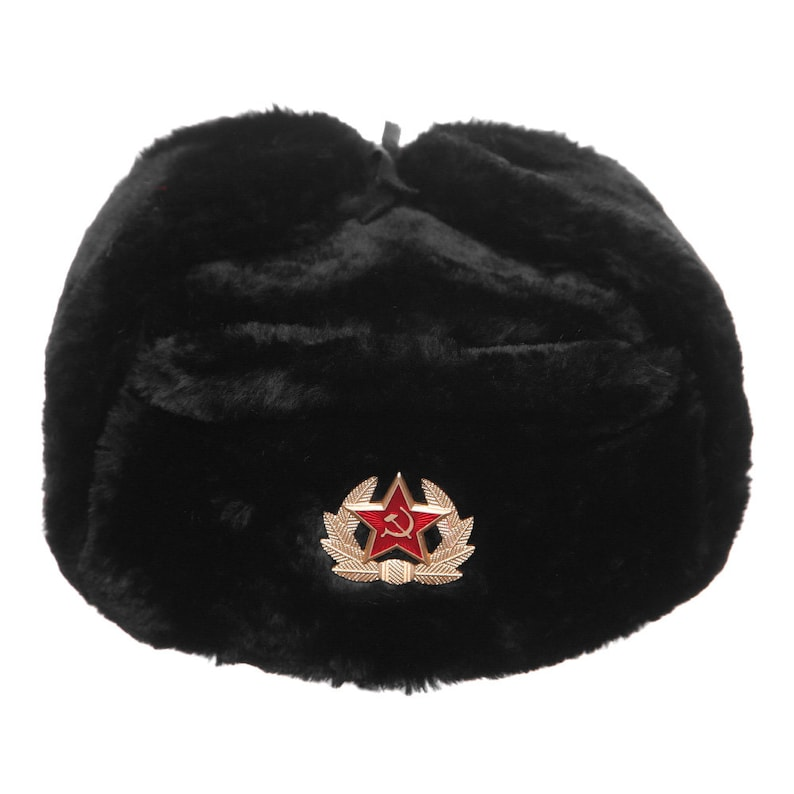 d44514e0839 Russian   USSR Army Winter Black Fur Ushanka Hat Soviet Red