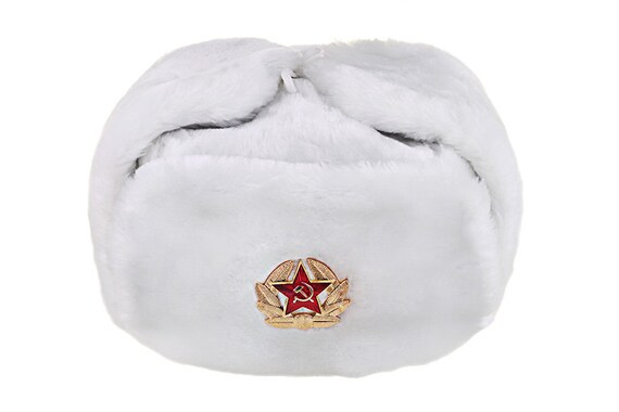 Russian   USSR Army Winter White Fur Ushanka Hat Soviet Red  84f10bb93264