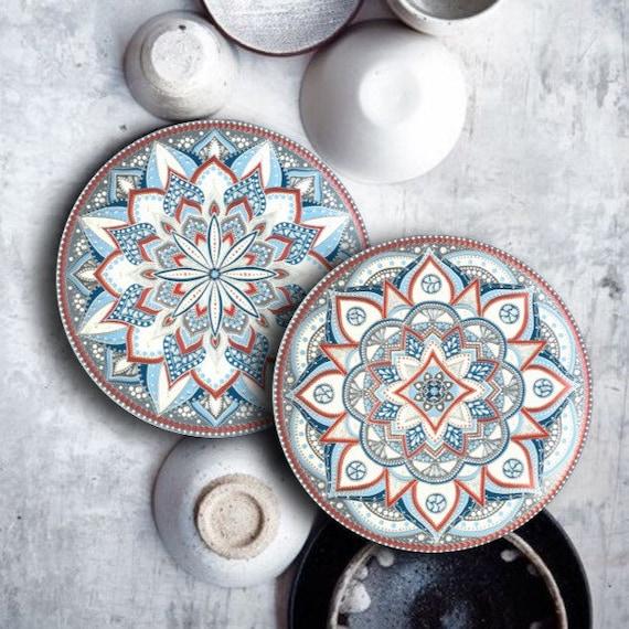Decorative Mandala Plate Boho Ceramic Wall Hanging Floral Etsy