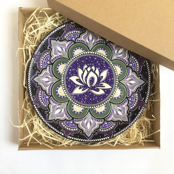 Lotus Flower Wall Decor Yoga Teacher Gift Decorative Plate Etsy