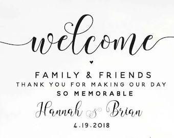 Welcome to our Wedding sign, Wedding Poster, Thank you Family and Friends, Printable Wedding Poster, Printable Wedding Sign, CARAMIA Style