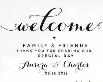 Welcome to our Wedding sign, Wedding Poster, Thank you Family and Friends, Printable Wedding Poster, Printable Wedding Sign, MARLENE Style