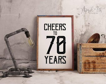 Cheers To 70 Years Sign Birthday Decoration For Dad Men Guys 70th Printable Party Poster OSCAR