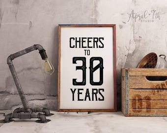 Cheers To 30 Years Sign Mens Birthday Decoration 30th For Guys Party Poster OSCAR