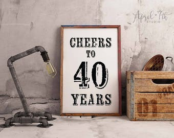Cheers To 40 Years Sign Birthday Decoration For Men 40th Guys Party Poster ROGER