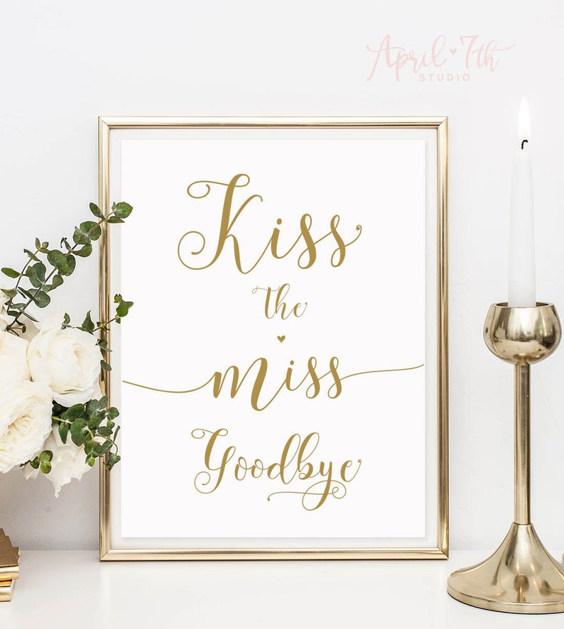 image about Kiss the Miss Goodbye Printable referred to as Kiss the Skip Goodbye, Printable Signal, Bridal Shower, Bachelorette Social gathering Decor, Keepsake reward for bride in the direction of be, Lipstick kiss, gold, CARAMIA