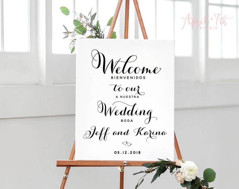 a99be1b89a8f6 Welcome to our Wedding sign, Bilingual Poster, English Spanish, Thank you  Family and Friends, Printable Wedding Poster, Wedding Sign,MARLENE