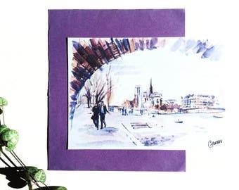 Map postcard Paris, docks de Seine drawing, Notre Dame de Paris illustration card Paris Seine, Paris Cathedral watercolor, CMoreauArt
