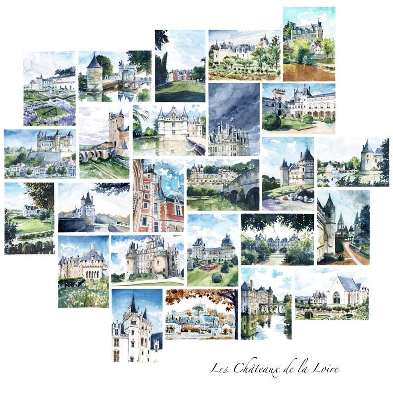 Carte postale Châteaux de la Loire Aquarelle château | Etsy