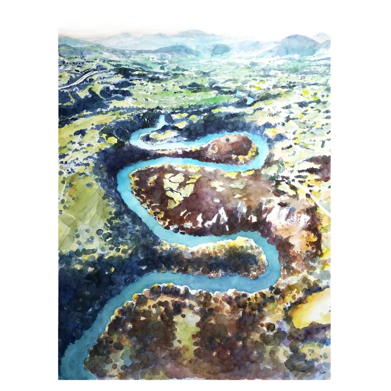 Big watercolor painting, landscape painting, painting xxl, landscape river  painting, Asturies watercolor, Meandros du Nora, Spain painting