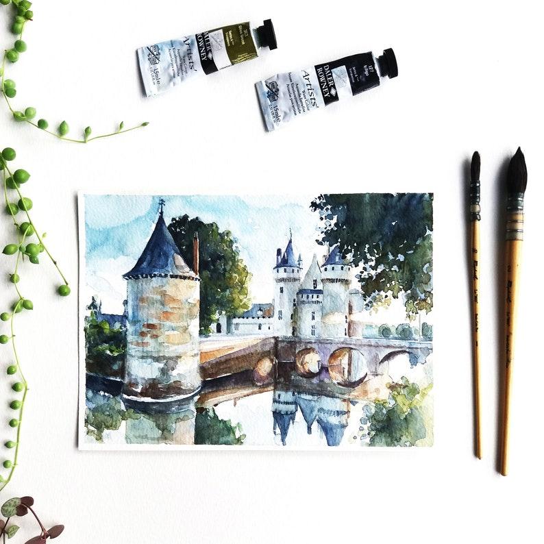 Original Watercolor Castle Hole Table Castle Of Loire Paint Etsy