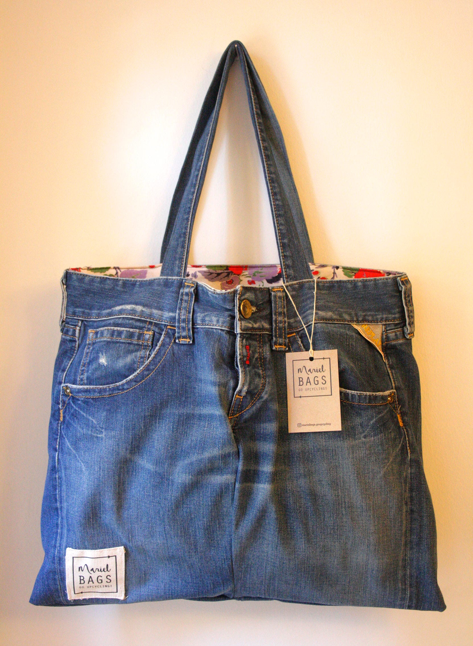 8b46b8250fd1 Unique handmade upcycled jean Bag-Unique handmade handbag with