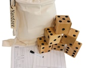 CARVED YARDZEE Farkle Yahtzee Cedar Dice game w Laminated ScoreCards Marker and Bag, Bucket or bucket label only and cards
