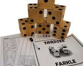 CARVED YARDZEE Farkle Yahtzee Cedar Dice game w Laminated ScoreCards Marker and Bucket Label, Bag or Bucket only and cards