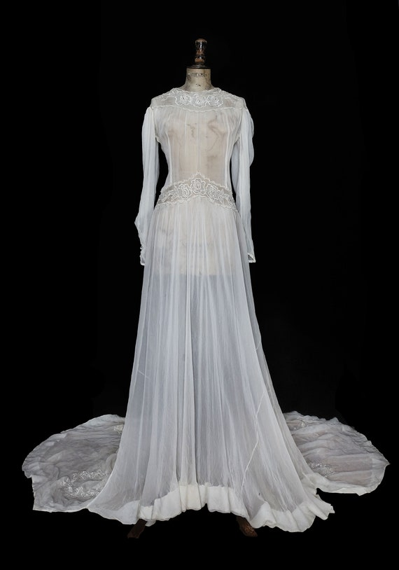 1940s Wedding Dress with Large Embroidered Train