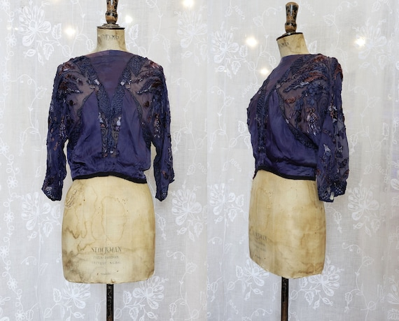 Purple Silk, Edwardian Embroidered Blouse