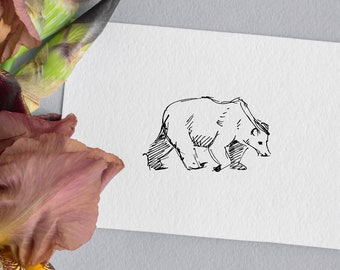"Bear - 4.25"" by 5.5"" Flat Greeting Card"
