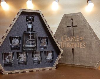 Game of Thrones Christmas gift For men Wedding gift Fathers gift House Stark House Targaryen Gift Whiskey gift Game ot Thrones gift