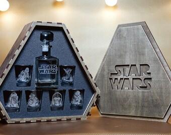 Star Wars, Star Wars Gift , Star Wars Whiskey Decanter Set, Whiskey Glasses, Star Wars Decanter, Personalized Whiskey Glasses, Star Wars