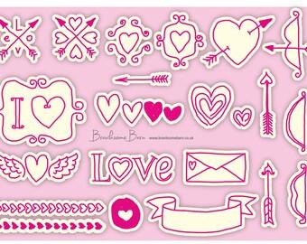Valentines stickers, 22 stickers, printed to order on waterproof vinyl
