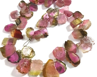 Natural WATERMELON TOURMALINE Gemstone Smooth Drilled slices beads,loose tourmaline Tumbled beads,10x12 mm E6946 9x25 mm,12 inch strand