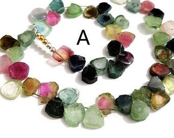 tourmaline blue gemstone WATERMELON TOURMALINE Gemstone nuggets Beads Rare tourmaline smooth nuggets 6x7-6x11 mm 13.5 inch strand E8253