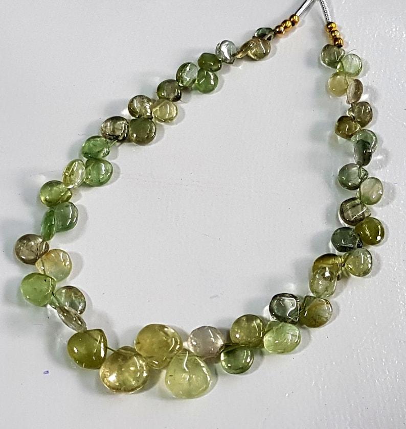 Natural Green Tourmaline gemstone smooth heart shaped briolettes,Tourmaline beads,tourmaline loose beads,4-8 mm 8.5 inch strand E5686