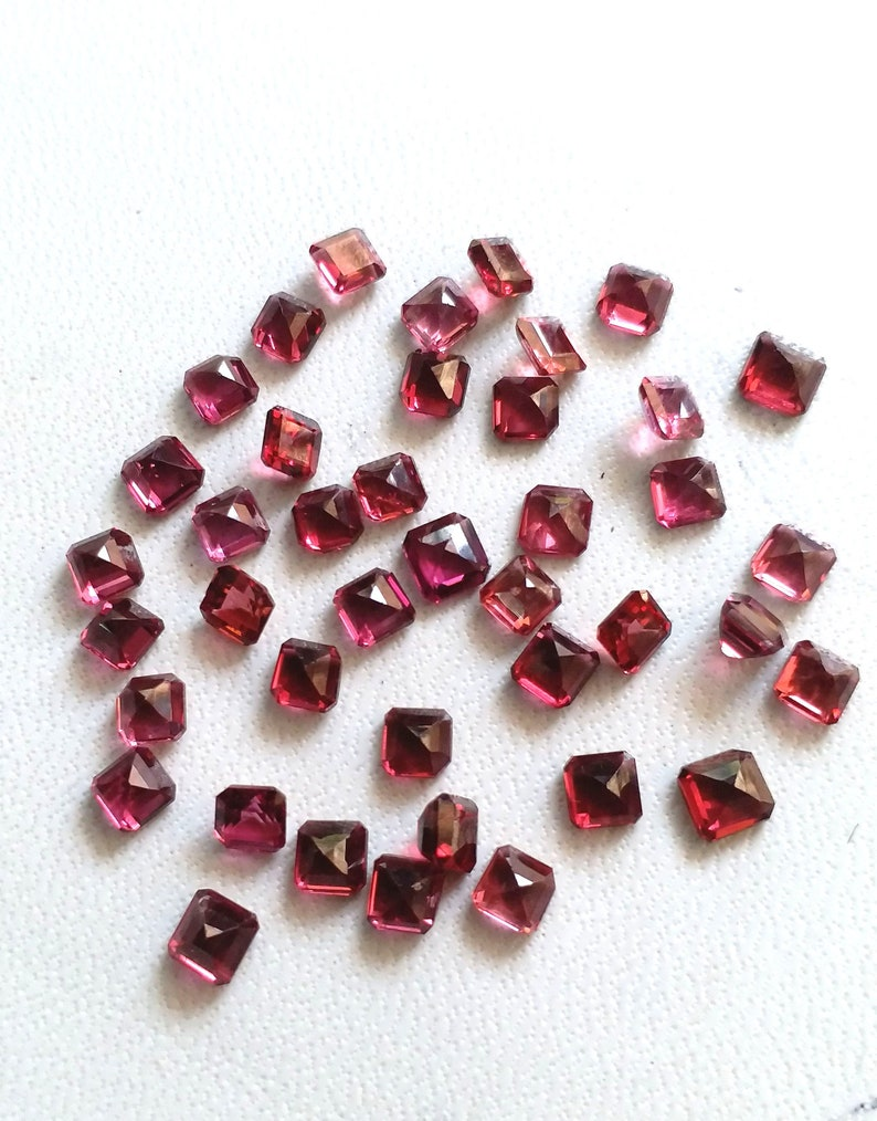 E8281 AAA GARNET GEMSTONE faceted square shaped cut stone Loose Gemstone cut stone fine quality 3x4 mm 20 pieces 10 ct Approx