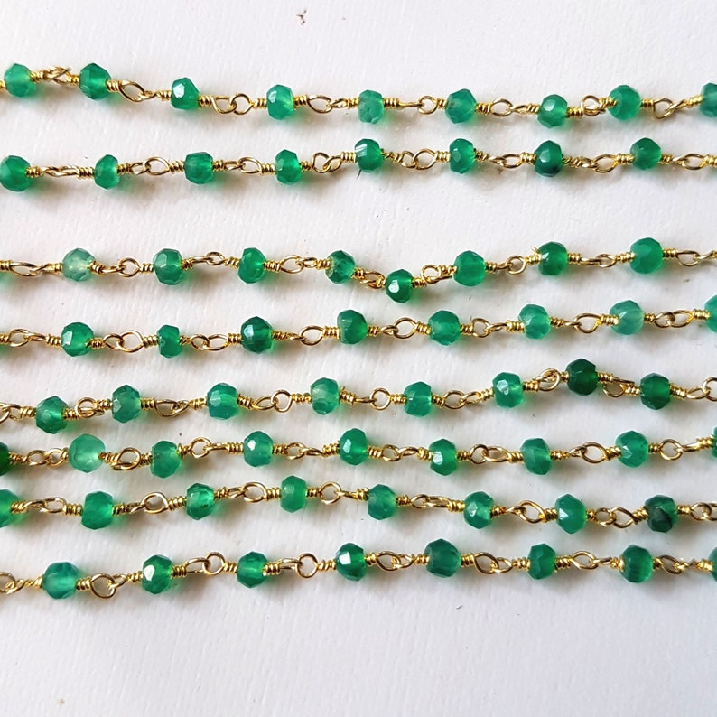 E4418 WHOLESALEW 1 Feet Beaded chain GREEN ONYX Faceted beads chain rosary style chain,size 3 mm Approx wire wrapped chain