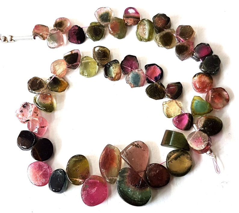 Natural WATERMELON TOURMALINE gemstone Slices smooth beads,Drilled slices,loose tourmaline beads,6x6 mm E6144 9x13 mm,9 inch strand