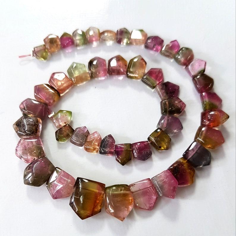 Natural Multi Tourmaline Gemstone,Watermelon Tourmaline Fancy Shaped Briolettes,Tourmaline Loose Beads,4x6 to 9x11 mm 10 inch strand E5963