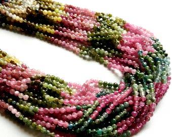 "5 line MULTI TOURMALINE smooth round balls beads , smooth beads, Amazing quality beads, 3 mm -- 3.2 mm ,13""strand[E1378]wholesale beads"