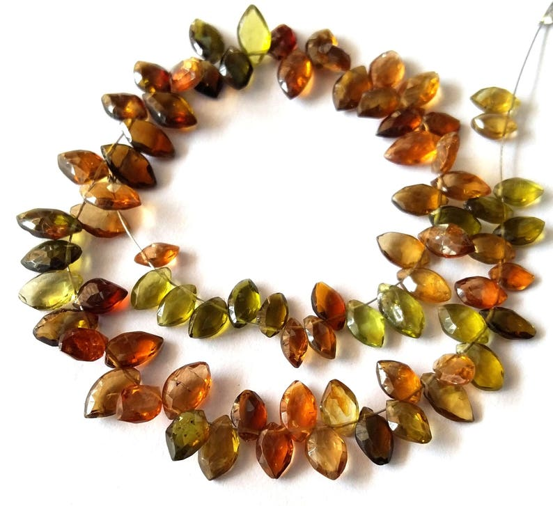 E3306 Amazing AAA+++ quality Brand new Natural MULTI Tourmaline faceted marquise shaped briolettes 4x6-5x10 mm 9 inch strand