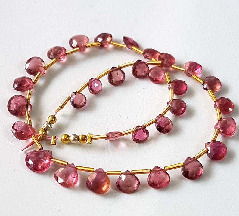 8 Inch Strand Raw Pink Tourmaline Tear Drop Bead 45 Pieces Approx 7x12mm Beads Pink Tourmaline Briolette Beads