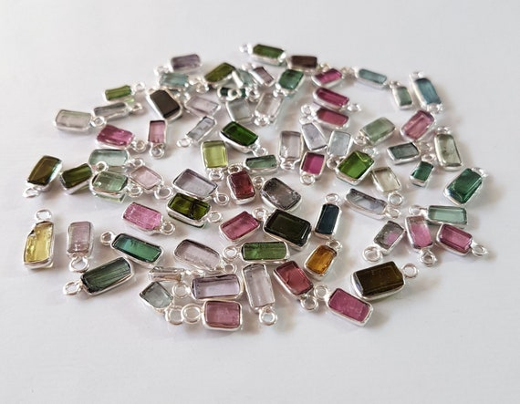AMAZING ! fine quality 6 Pieces TOURMALINE cabochons connectors Rectangle shaped bezel connector Single loop 3x4 mm - 4x9 mm.Approx[E9895]
