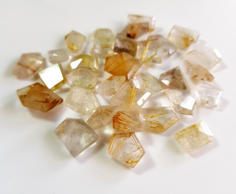 Elegant Natural Golden Rutilated faceted fancy shaped rose cut loose gemstone cabochon gemstone 9x10 to 13x17 mm 10 pieces approx. E9841