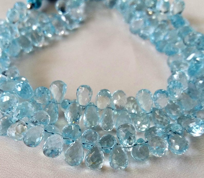 --- 4x7 mm E2093 teardrop beads very nice quality 5x8 mm  8 strand, Sky BLUE TOPAZ faceted drops