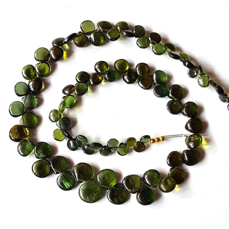 E5616 Natural Green Tourmaline gemstone smooth heart shaped briolettes,Tourmaline beads,tourmaline loose beads,4-9 mm 14 inch strand