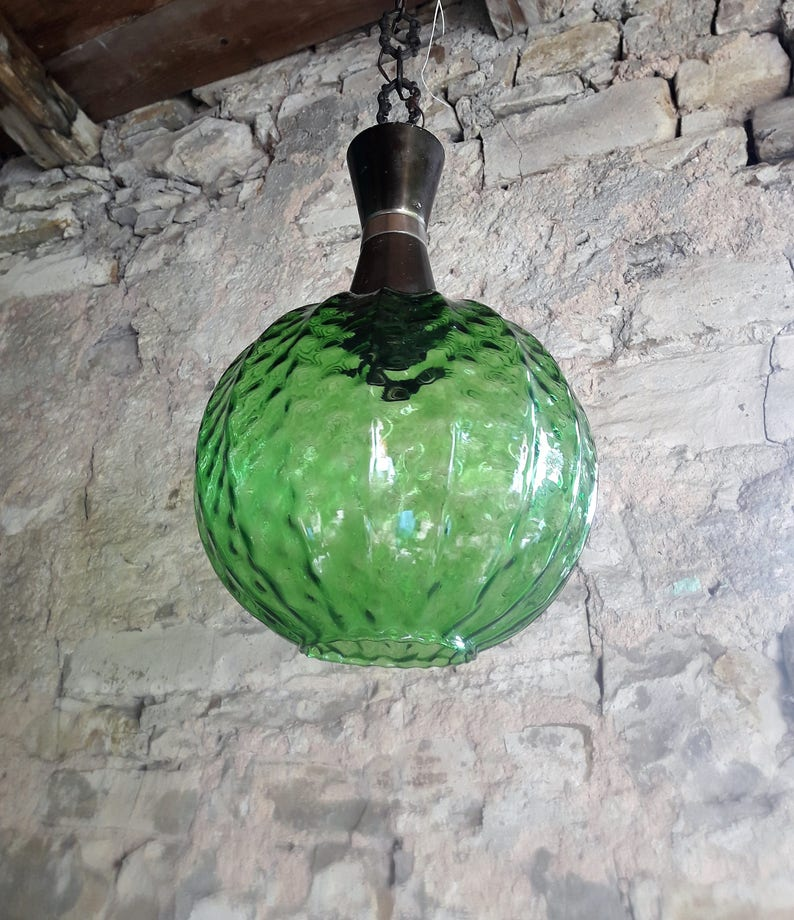 Vintage Mid Century Green Glass Ceiling Lamp Green Blown Glass Pendant Light 70s