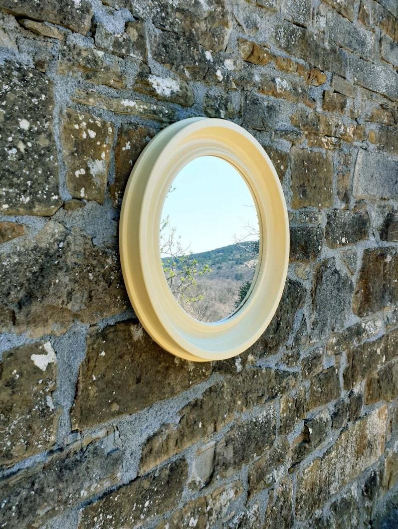 Large Vintage Plastic Round Mirror Retro Vanila White Wall Mirror Space Age Mirror Retro Home Decor Italy 70s
