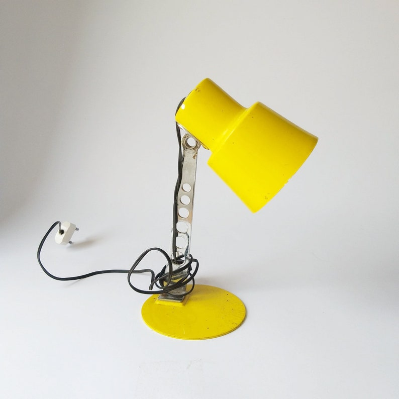 Mid Century Table Lamp  Vintage Desk Lamp  Office Lamp  Bedside Lamp  Yellow  Industrial Lighting  Home Decor  Space Age 70s