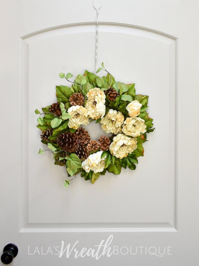 Front Door Wreath Winter Wreath Christmas Peony Wreath Lalaswreathboutique
