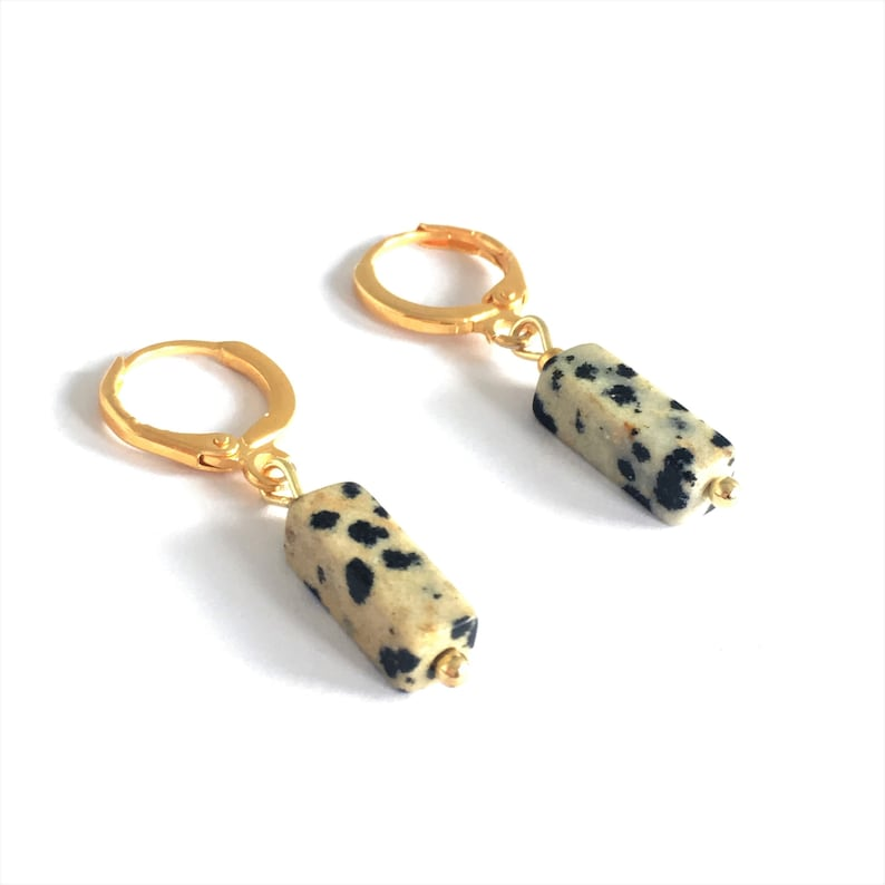 tiny earrings Gold PLated Hoops with natural stone charm small gold plated Creole