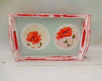 Poppy Serving Tray, Red Serving Tray, Shabby Chic Tray, Small Wood Tray,  Decoupage Tray, Poppy Kitchen Decor, Housewarming Gift