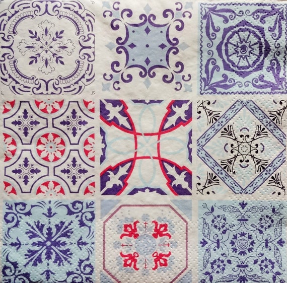 4 Individual Napkins for Craft and Napkin Art. 33 x 33cm Lavender Fields 4 Paper Napkins for Decoupage 3-ply