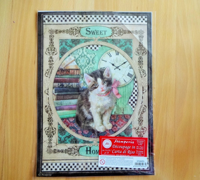 A4 Cat Theme Vintage Decoupage Mixed Media Rice Paper