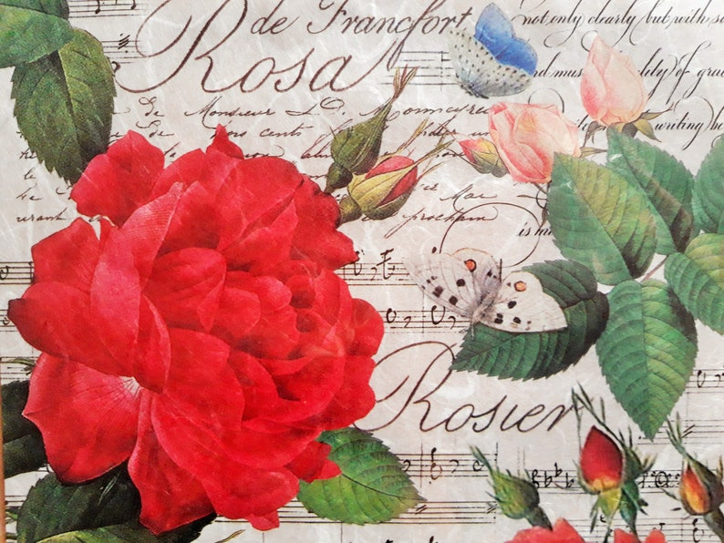 Thin Rice Paper Scrapbooking Paper Rose Theme Paper Red Rose Paper Stamperia Paper Ephemera Paper for Decoupage Romantic Rice Paper