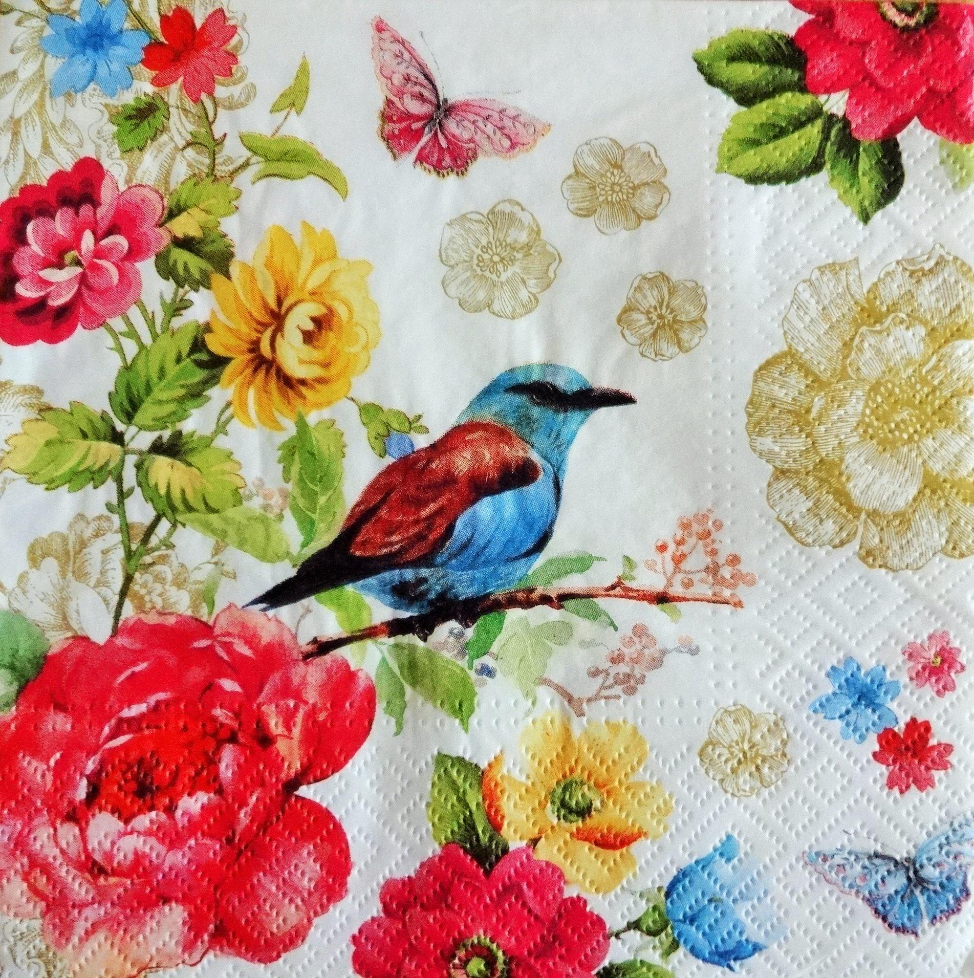 4 Romantic Paper Napkins Decoupage Paper Napkin Floral Etsy